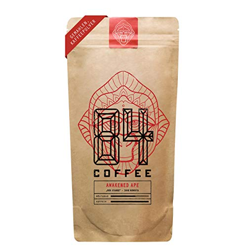 84 Coffee - Vietnamesischer Kaffee - Awakened Ape - Dunkel geröstet - 100% Robusta -fairer & direkter Handel - frisch & schonend geröstet - gemahlener Kaffee (250g)