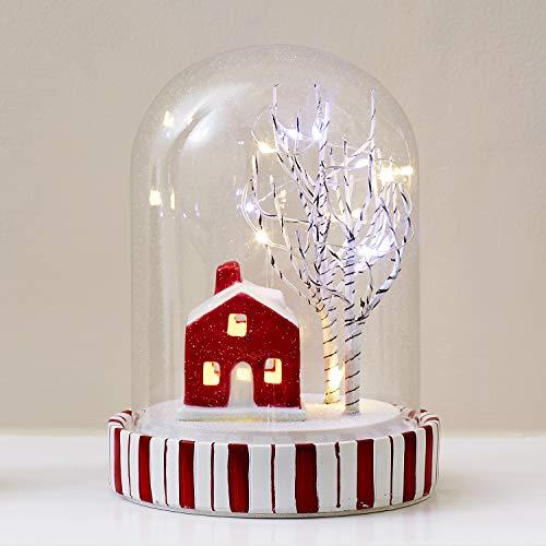 Lights4fun 9er LED Glaskugel warmweiß Winterlandschaft