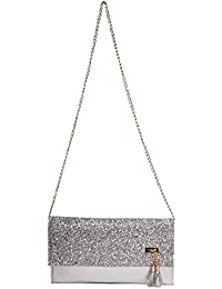 Envie Faux Leather Silver Fold Over Magnetic Snap Closure Sequined Sling Bag For Women
