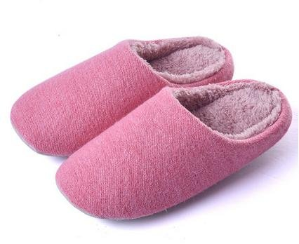 &zhou Automne et hiver Accueil chaussons coton intérieur de la maison à fond épais anti - pantoufles de dérapage FEMALEPINK