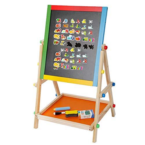 EVERAIE Kinder Kreidetafel, Kinder aus Holz stehend Kunst Staffelei Board 2 in 1 doppelseitige Staffelei Tafel Kreide Board Reißbrett Kinder Lernen Board Lernspielzeug für Kinder Geschenke -