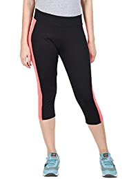 ONESPORT WOMEN'S COTTON SPANDEX JERSEY BLACK + CORAL THREE FORTHS(ONSP19BC-P)