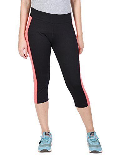 Onesport Women's Cotton Spandex Jersey three fourth(X-Large,Black)