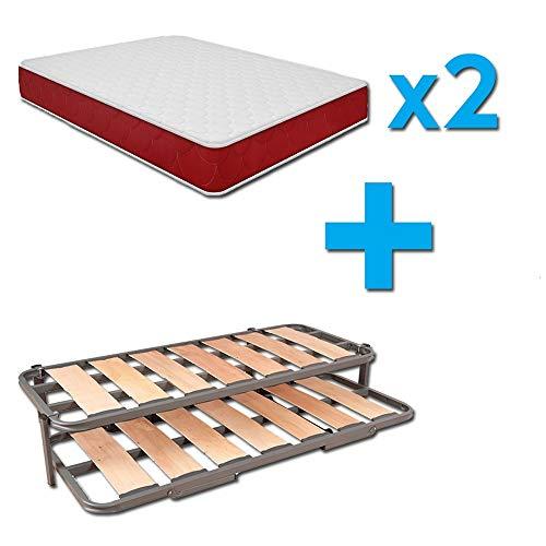 Duermete Cama Nido Completa Láminas Anchas Reforzada + 2 Colchones Viscoelásticos Reversibles (Cara Invierno-Verano), Sistema Anti-Ruido, 90 x 190