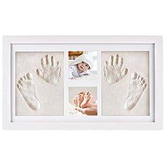 Idea Regalo - NIMAXI, kit portafoto e impronte 3D per bambini, cornice per calchi in gesso di mani e piedi, set in legno bianco 43x25cm
