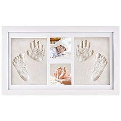 NIMAXI Baby Bilderrahmen mit Gipsabdruck, Größe 41x23cm, Farbe weiß, Bilderrahmen Abdruckset Handabdruck und Fußabdruck