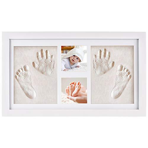 NIMAXI marco de fotos para bebé para huella de mano y pie 3D, Portafotos de madera con molde de yeso, blanco, 43x25cm