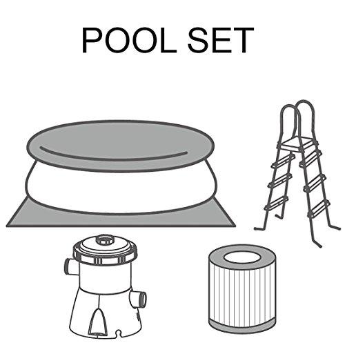 Jilong Marin Blue 450H Set – Quick-up Pool 450x106cm, mit Kartuschen-Filterpumpe, Leiter, Boden- und Abdeckplane - 3
