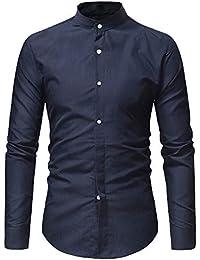 BUSIM Men's Long Sleeve Shirt Autumn Casual Fashion Solid Color Lapel Button Slim T-Shirt Top Cozy Breathable...