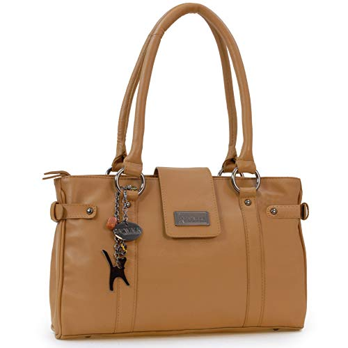 Catwalk Collection Handbags - Leder - Umhängetasche/Handtasche/Schultertasche - MARTINA - Hellbraun -