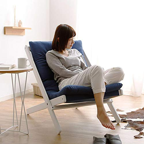 Huahua Furniture Bodenstuhl, Faltbarer hölzerner Sofa-Stuhl-Balkon-Garten-Strand-stützender Stuhl im Freien, Patio-faltender Erwachsener Stuhl (Color : Dark Blue) - Home Eleganz Lattenrost