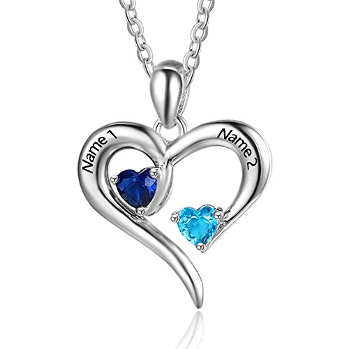 Personalisierte Sterling Silber Halskette 2 Namen simulierte Birthstones Beziehung Halsketten 2 Paar Herz Name gravierte Anhänger für Paare (Personalisierter Name Halskette)