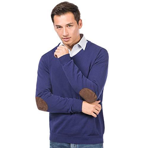 ALLBOW Blauer Pullover mit Ellenbogen-Patches, V-Ausschnitt Sweatshirt, XXL