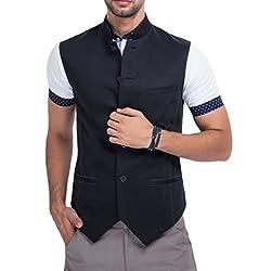 Mr Buttons Mens Slim Fit Nehru Jacket NJA018-XL_Black_X-Large