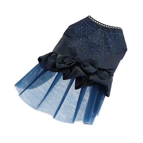 perfk Ropa Primavera Verano Perro Capas Accesorios Vestido de Mascota Conveniente Cómodo - Azul Oscuro L