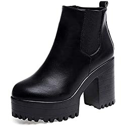 POLP Botas Tacon Zapato Mujer Tacon Ancho Zapatos señora Invierno Botas de Vestir Botines Mujer Tacon Botines Invierno Mujer Botines Mujer Tacon Botas de Invierno para Mujer Botas de Plataforma