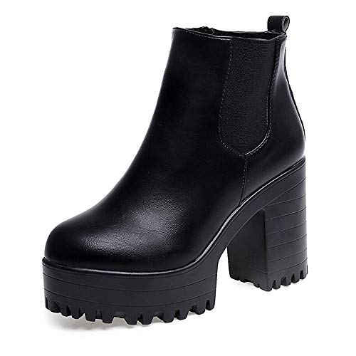 Riou Wasserdicht Leder Plattform Halbschaft Stiefel Hohe Pumpe Winter Verdicken Samt Warme Elegant Freizeit Outdoor Rutschfeste Dicker Absatz & Boden Kurzschaft Schuhe (40, Schwarz)