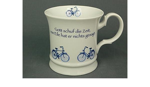 Cup und Mug Friesenbecher Fahrrad Blau Gott schuf die Zeit… 300ml