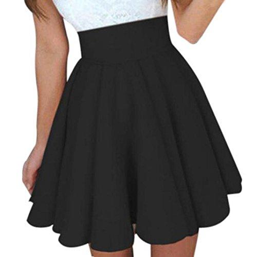 Longra Damen Sommerröcke Skater Röcke High Taille A-Linien Röcke Damen Elegant Faltenröcke Knielang Röcke Mädchen Basic Solid Miniröcke Stretch Jerseyrock (Black, M)