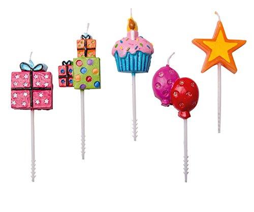 tib 11108 Partykerzen auf Kunststoffpflücker für Muffins, mehrfarbig, Einheitsgröße