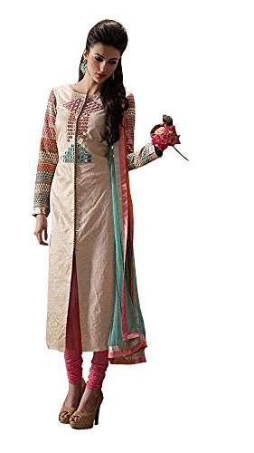 Monika Silk Mill Present Designer Beige,Pink & Sky Blue Salwar Suits