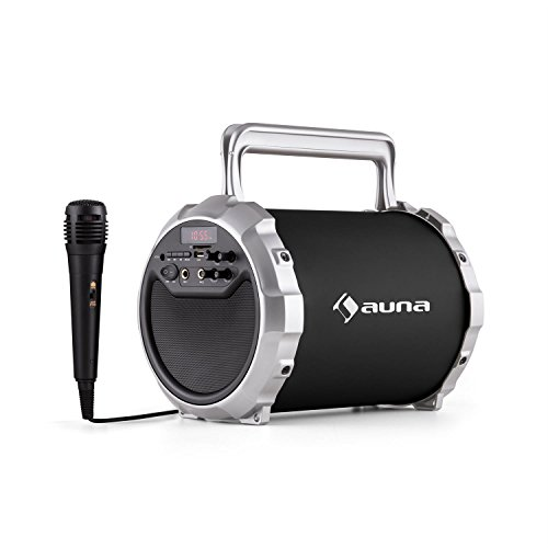 auna DR. Bang! 2.1 Altavoz Bluetooth USB portátil (Incluye micrófono, ranura SD, entrada AUX, sintonizador radio FM, batería integrada, asa, color negro)