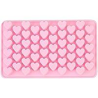 Fasloyu Molde de silicona para galletas de chocolate con diseño de corazones y 55 dulces, rosa, 18.5 x 11 x 1.4cm