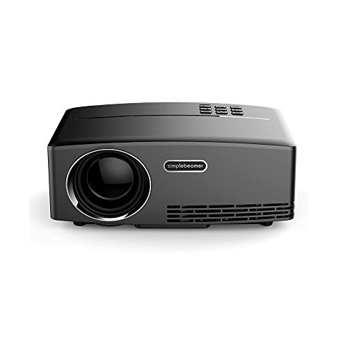 Mileagea GP80 Mini Vidéoprojecteur 1800 Lumens Led Projector For Multimédia pour Vidéo Home Cinéma Film TV Smartphone Blanc