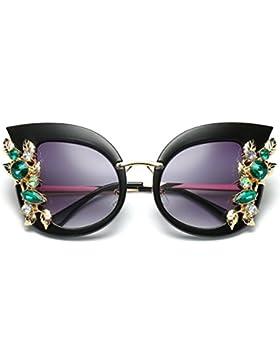 Gafas de sol clásicas de la marca del marco del metal del oído del diamante artificial del gato de la moda de...
