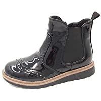 Chatterbox Girls Bonnie Brogue Style Pull On Flat Heel Chelsea Boot Size 8,9,10,11,12,13,1,2 in Black Navy Blue Patent