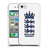 Head Case Designs Offizielle England and Wales Cricket Board Weiss 2018/19 Kamm Soft Gel Hülle für iPhone 4 / iPhone 4S