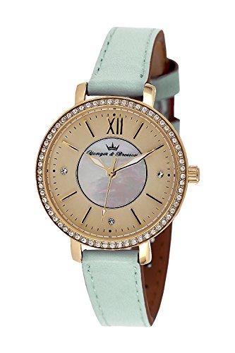 YONGER&BRESSON Femme Date Standard Quartz Montre avec Bracelet en Cuir DCP 049S/EZ