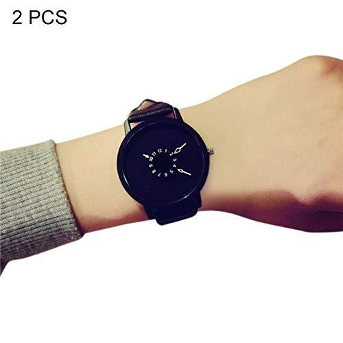 Warmhome WARM nach Hause 2 STÜCKE Moderne Einfachheit Frauen Männer Uhren Casual Marke Weichen Silikonband Gelee Quarzuhr Armbanduhren Für Damen Liebhaber Schwarz Weiß (Farbe : Schwarz)