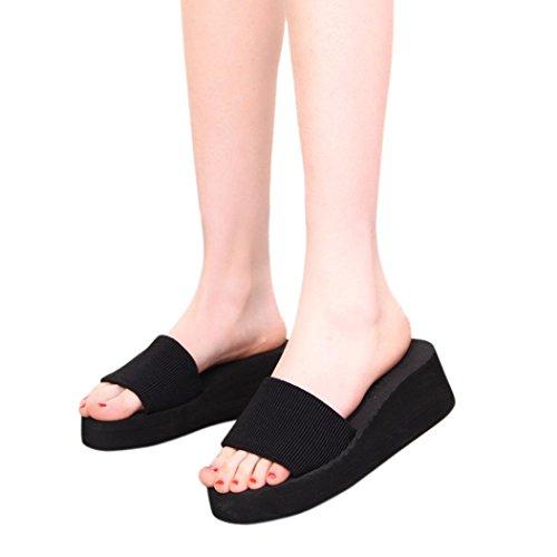 Elecenty Sommerschuh Hausschuhe Damen Schuh,Peep-Toe Keilabsatz Mädchen Bequem Schuhe Slipper Plattform Shoes Strandschuhe Frauen Sandalen Offene Damenschuhe Abendschuhe (39, Schwarz)
