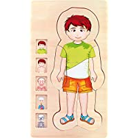 small foot 5842 wooden puzzle anatomy boy, skeleton, muscles, bloodstream and internal organs, 29-pcs. Puzzle