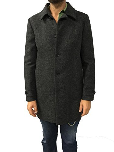 ASPESI Cappotto Uomo Grigio MOD A CI319345 Wool Lemon Slim Tessuto Esterno 100% Lana Fodera Corpo 100% Cotone vestibilità Slim Made in Italy (M)