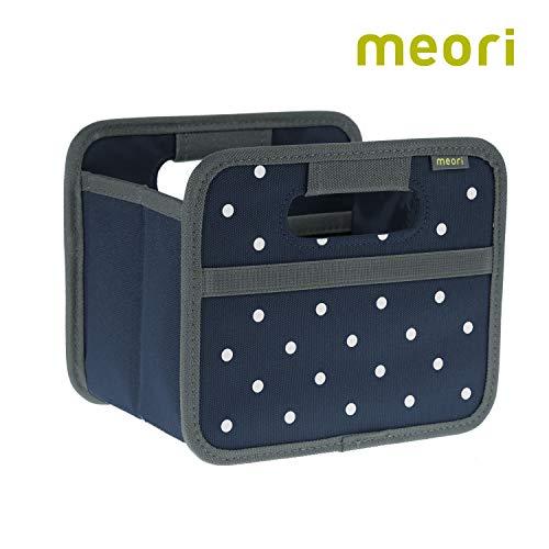 Marine-blau-schlafzimmer (Faltbox Mini Marine Blau / Punkte 16,5x12,5x14cm stabil, abwischbar Polyester Geschenkbox Schmuck Schublade Schlafzimmer zusammenfaltbar Qualität)