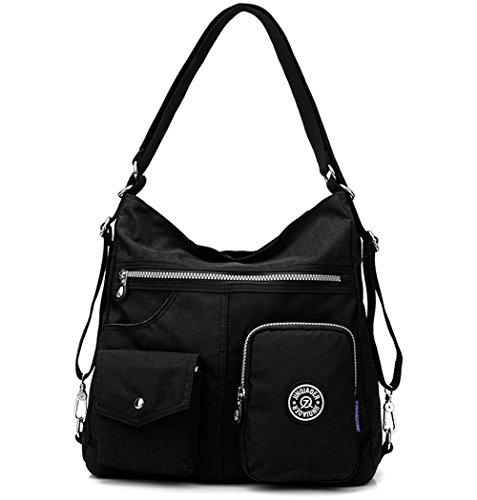 Travistar Nylon Wasserdichte Damen Schultertaschen Mode Rucksack Damen Handtasche Multifunktions Tasche für Büro oder Lässige täglich-Schwarz
