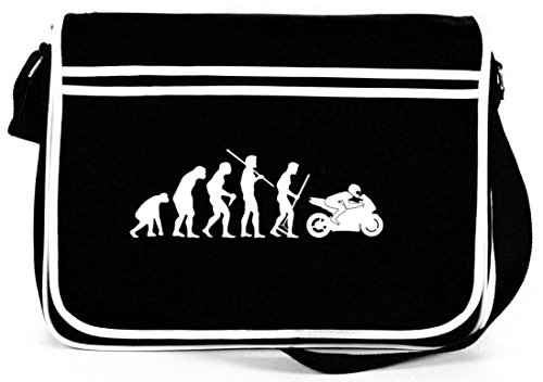 e bike damen retro Shirtstreet24, EVOLUTION MOTORRAD, Biker Bike Retro Messenger Bag Kuriertasche Umhängetasche , Größe: onesize,Schwarz