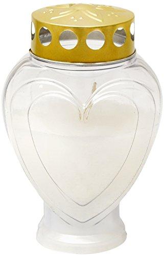 Grabkerze - Gedenkkerze - Grablampe Herz Weiß