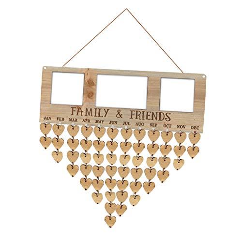 Bonarty Kalender Holzschild Wandschild Türschild mit Schnur für Hen Party und Brautparty - C
