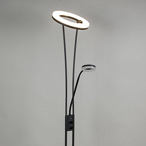 QAZQA Modern Stehleuchte / Stehlampe / Standleuchte / Lampe / Leuchte Divine schwarz Dimmer / Dimmbar / Innenbeleuchtung / Wohnzimmer / Schlafzimmer / Deckenfluter Metall Rund / Länglich / inklusive L - 5