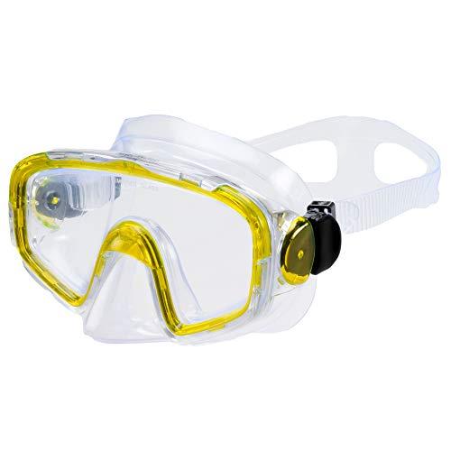 AQUAZON SHARK Junior Medium Schnorchelbrille, Taucherbrille, Schwimmbrille, Tauchmaske für Kinder, Jugendliche von 7-14 Jahren, Tempered Glas, sehr robust, tolle Paßform , colour:gelb transparent