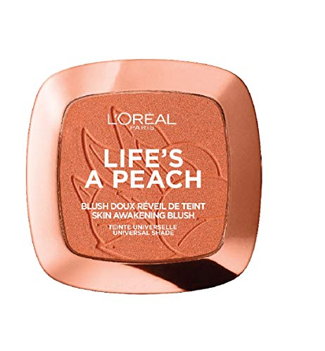 L'Oréal Paris Blush in Polvere Life's a Peach, Pelle Idratata, Effetto Radioso con Estratto di Pesca, 01 Eclat Pêche