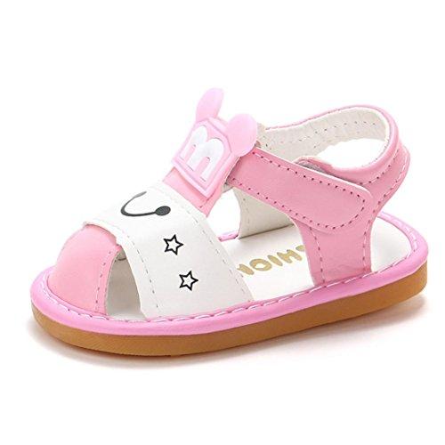 HUIHUI Baby Schuhe, Pricness Geschlossene Ballerinas Pearl Single Hollow Sandals Kinder Cartoon Beach Sandals Mädchen Hausschuhe Mary Jane Halbschuhe Anti-Slip Shoes (17 (6-12M), Rosa)