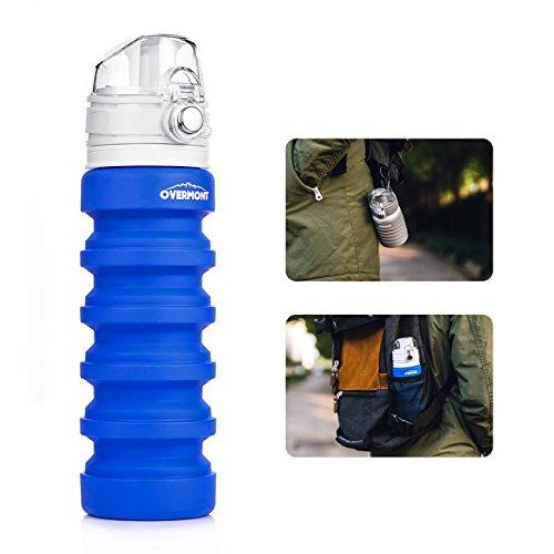 Overmont 500ml Faltbar Trinkflasche Silikon Sportflasche für Fitness, Schule, Camping, Picknick, Trekking, Klettern, Outdoor-Sport und Reisen Orange/Blau/Grau