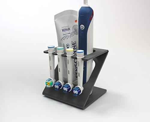 Plastic Online Ltd Ständer/Halter für elektrische Zahnbürste und 4 Bürstenköpfe (in verschiedenen Farben erhältlich) Dark Grey (Matt)