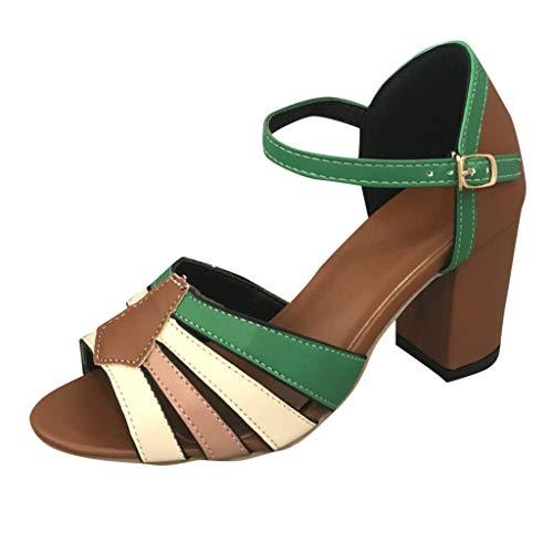 Dragon868 Sandali Donna Brasiliana Scarpe con Tacco Alto 6cm Scarpe Romane con Cinturino Tacco a Blocco Colori Misti Sandali Estivi 2019 Verde