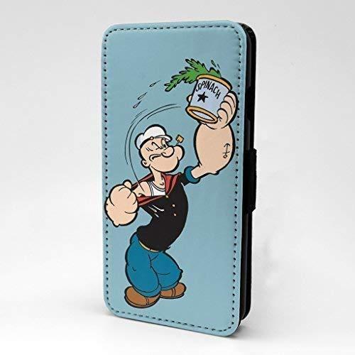 Accessories4Life Popeye der Matrose Man Cartoon Bedruckt Telefon Vorne Kunstleder Klappetui Hülle mit Kartenschlitze & Magnetisch Schließen Verschluss für Apple IPHONE 7 & 7S - Spinat - S-G859 -