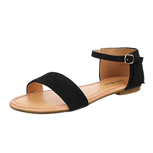 Damen Schuhe, 1021-7, SANDALEN WESTERN STYLE FRANSEN Schwarz
